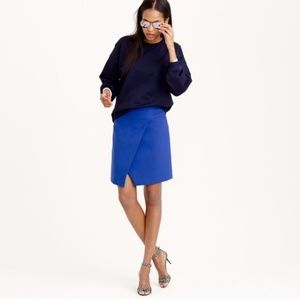 J. Crew Blue Crossover Wrap Skirt Size 0